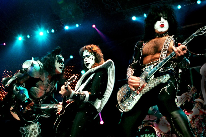 (left to right) Members of the rock band KISS, Gene Simmons,Ace Frehley, and Paul Stanley as the ban